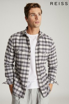 Reiss White Dashand Brushed Cotton Checked Overshirt