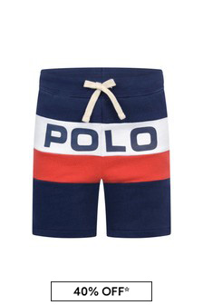 Boys Navy Cotton Polo Shorts