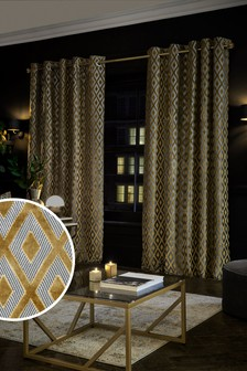 Gold Collection Luxe Diamond Geo Eyelet Curtains