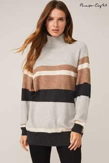 Phase Eight Grey Idabelle Stripe Knit Top