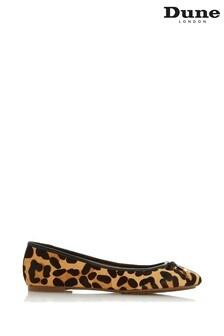 Dune London Leopard Print Leather Harpar Bow Detail Ballerinas