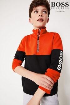 BOSS Navy/Red Logo Knitwear Sweater