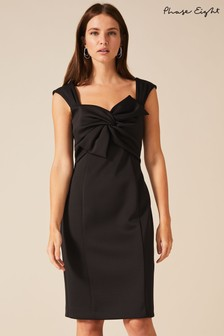 Phase Eight Black Giulia Bow Front Scuba Dress