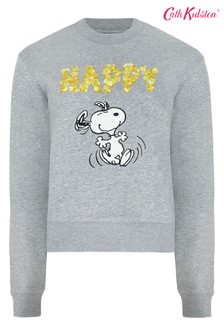 Cath Kidston® Snoopy Grey Cropped Sweat Top