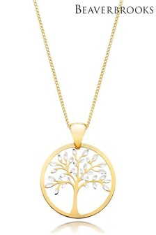 Beaverbrooks 9ct Gold And White Gold Tree Pendant