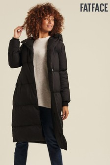 Čierny prešívaný kabát FatFace Jenny