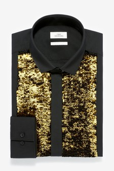 Two Way Sequin Bib Slim Fit Shirt