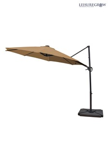 Maple 3m Taupe Solar Powered Cantilever Parasol By Leisuregrow