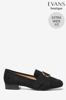 Evans Black Extra Wide Fit Metal Ring Loafers