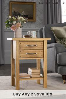 Milton Oak 2 Drawer Side Table by Laura Ashley