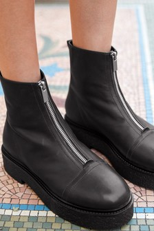 Forever Comfort Chunky Slab Front Zip Boots
