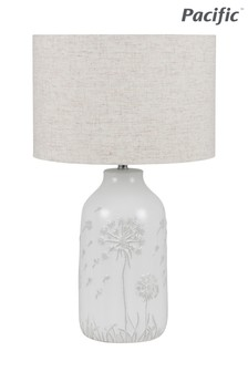 Flora White Floral Ceramic Table Lamp by Pacific Lifestyle