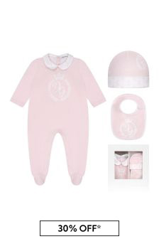 Girls Pink Cotton Babygrow 3 Piece Set
