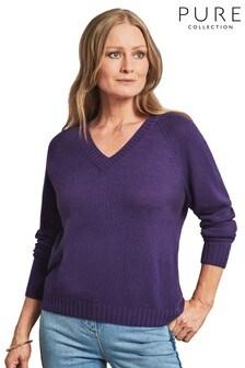 Pure Collection Purple Cashmere Lofty V-Neck Sweatshirt