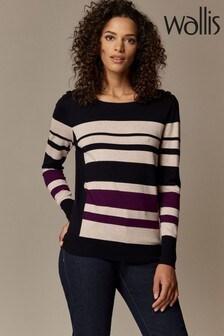Wallis Purple Block Stripe Jumper