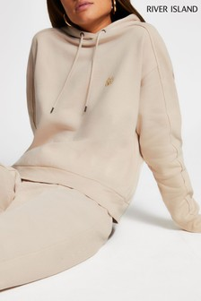 River Island Cream Exposed Seam Hoodie