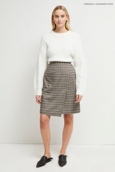 French Connection Grey Amati Check Wrap Skirt