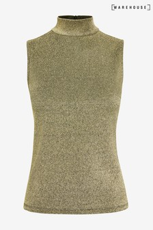 Warehouse Gold Sparkle Funnel Neck Tank Top