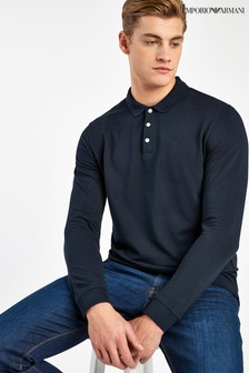 Emporio Armani Navy Long Sleeve Poloshirt