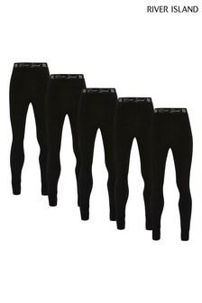 River Island Black Waistband Leggings Five Pack