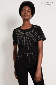 Damsel In A Dress Black Raywella Stud Top