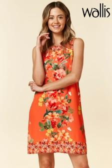 Wallis Etuikleid mit Blumenmuster, Kurzgröße, orange