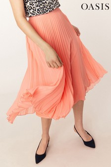 Oasis Orange Pleated Skirt