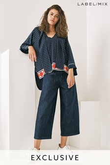Mix/LF Markey Dark Denim Wide Leg Crop Jean