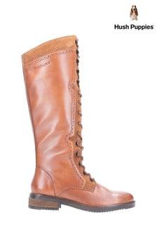 Hush Puppies Tan Rudy Zip Up Lace-Up Long Boots