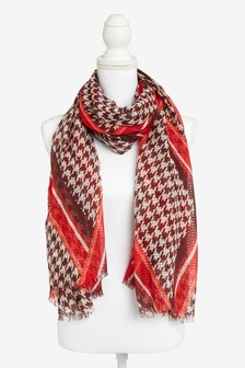 Sequin Check Dogtooth Lightweight Scarf