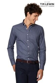 T.M. Lewin Slim Fit Navy/Grey Gingham Single Cuff Shirt