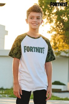 Short Sleeve Fortnite Camo Raglan Top (10-16yrs)