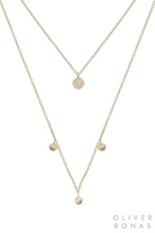 Oliver Bonas Gold Plated Dacey Double Row Pendant Necklace