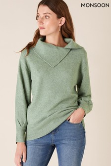 Monsoon Green Split Neck Knit Jumper