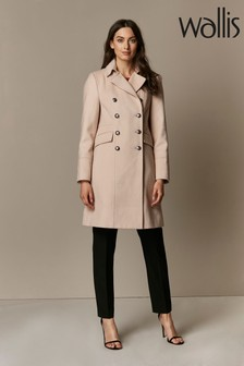 Wallis Nude Faux Wool Military Coat