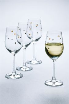 Set of 4 Heart Polka Wine Glasses