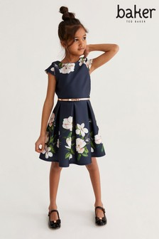 Baker by Ted Baker Girls Navy Floral Prom Dress