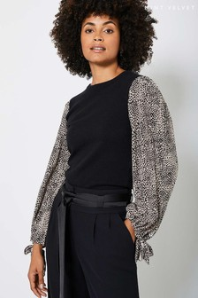 Mint Velvet Black Print Sleeve Easy Jumper
