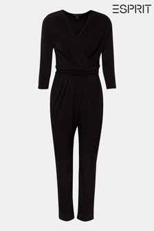 Esprit V-Neck Jumpsuit With 3/4 Sleeves And Waist Detail