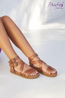 Blowfish Tan Fandie Platform Moulded Footbed Sandals