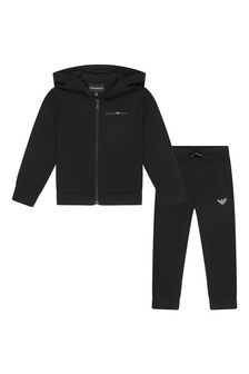 Boys Black Cotton Tracksuit