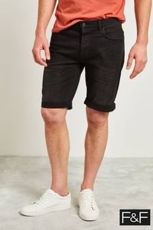 F&F Black Denim Five Pocket Shorts