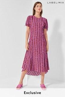 Mix/Caroline Issa Rose Print Tea Dress