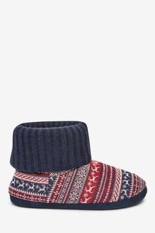 Fairisle Pattern Slipper Boots