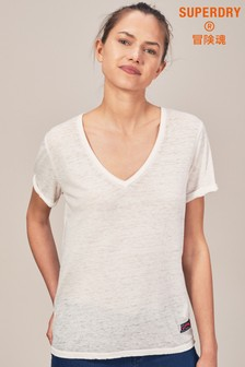 Superdry White V-Neck Tee