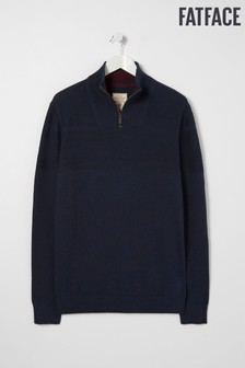 FatFace Blue Rye Cotton Cash Half Neck Jumper