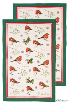 Set of 2 Ulster Weavers Robins Holly Tea Towels