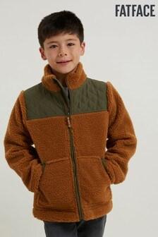 FatFace Tan Borg Zip Through Sweater
