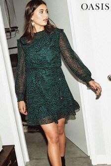 Oasis Multi Green Agate Animal Chiffon Dress