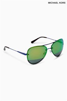 Michael Kors Blue Mirrored Rimless Aviator Style Sunglasses